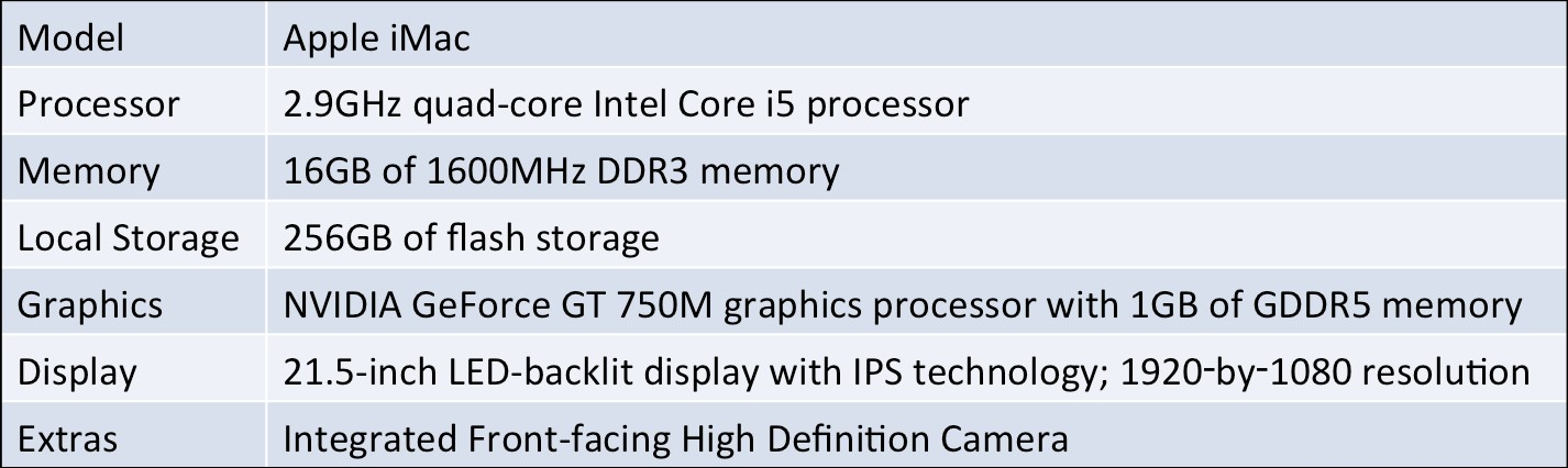 NSSAL workstation hardware specifications